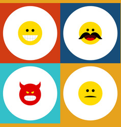 Flat icon emoji set of cheerful displeased grin vector