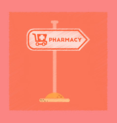 Flat shading style icon pharmacy sign vector
