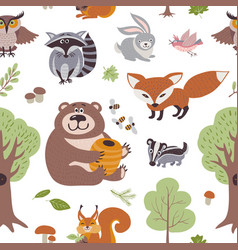 Forest summer plants and woodland animals vector