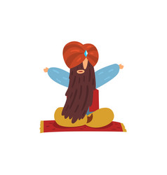 funny man sitting with long beard and turban on vector image