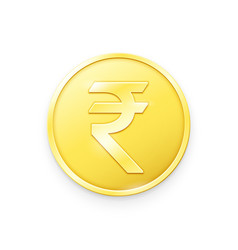 Gold coin with rupee sign vector