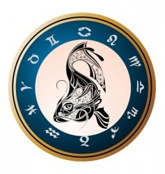 golden zodiac wheel with sign vector image