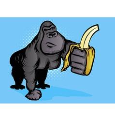 gorilla banana vector image