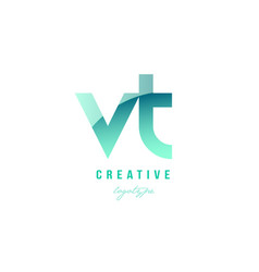 green gradient pastel modern vt v t alphabet vector image