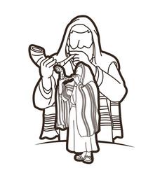 group jewish blowing shofar horn cartoon vector image