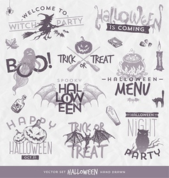 Halloween type design set with hand drawn elements vector