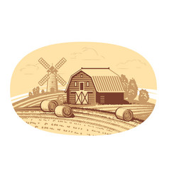 hand drawn sketch farm landscape agriculture vector image