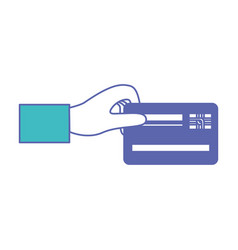 hand holding a credit card in blue and purple vector image