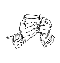 handdrawn of right hand holding coffee vector image