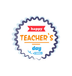 Happy teachers day orange rays vector