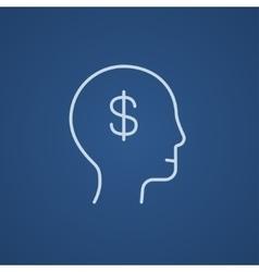 Head with dollar symbol line icon vector