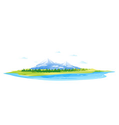 high mountains with forest and lake vector image