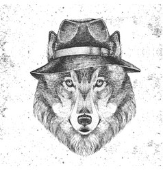 Hipster animal wolf in hat hand drawing muzzle vector