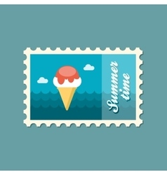 Ice Cream flat stamp summertime vector image