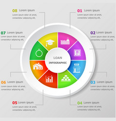 Infographic design template with loan icons vector