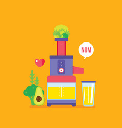 Juicer and fresh fruits greens vegetables colorful vector