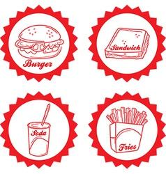Junk food emblem vector