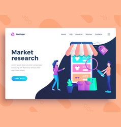 landing page template market research concept with vector image