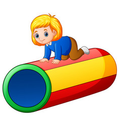 little girl on the colorful tunnel vector image