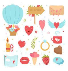 love concept icons romance symbols marriage vector image