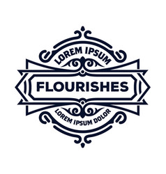 luxury logo template flourishes ornament lines vector image