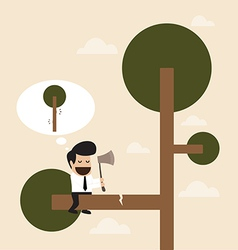 Man cut branch tree with risk behavior vector