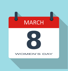 march 8 womens day flat daily calendar icon vector image