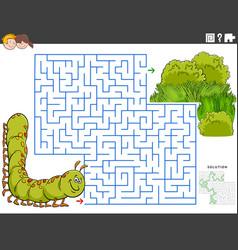 Maze educational game with cartoon caterpillar vector