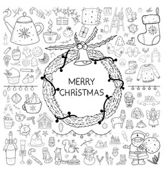 merry christmas big hand drawn doodle set vector image