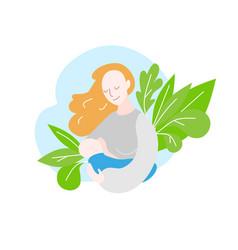 Mom feeds newborn bamother during breastfeeding vector