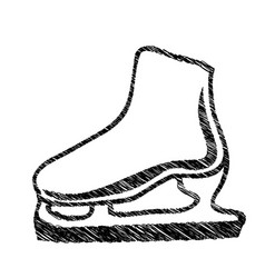 monochrome hand drawn sketch of ice skate vector image