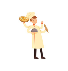 Multitasking chef cook character young man with vector