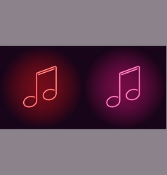 Neon icon of red and pink musical note vector