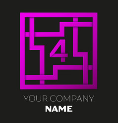 Number four logo in colorful square maze vector