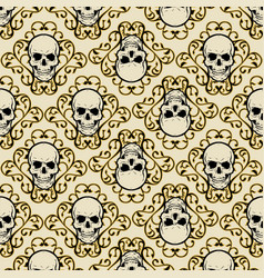 Pattern skull with ornament vector