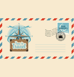 Postal envelope with stamp on the theme of travel vector