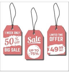 Sale tags with hand drawn ink vector