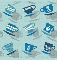 Seamless pattern of retro tea cups vector