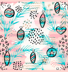 seamless pattern with christmas balls hand drawn vector image