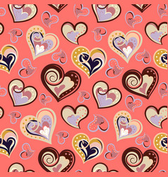 seamless pattern with hearts freehand drawing vector image