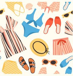 Seamless pattern with summer clothes and vector