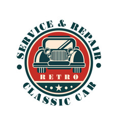 Service and repair classic car retro auto repair vector