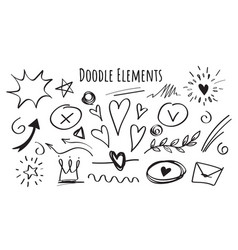 set hand drawn doodle elements vector image