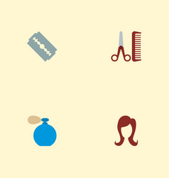 set of barber icons flat style symbols with vector image