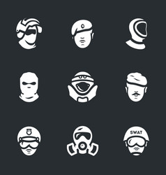 Set of military forces icons vector