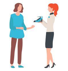 Shop accessory woman buying high heels vector