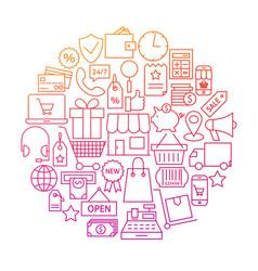 Shopping line icon circle design vector