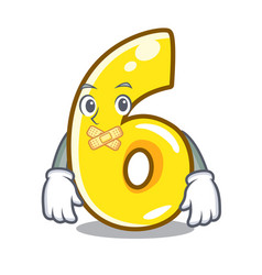 Silent number six isolated on the mascot vector