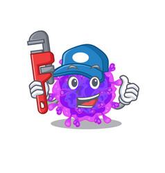 Smart plumber alpha coronavirus on cartoon design vector