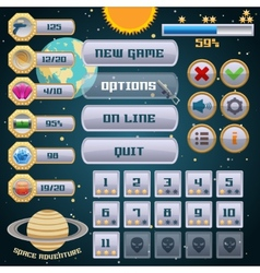 Space game interface design vector image